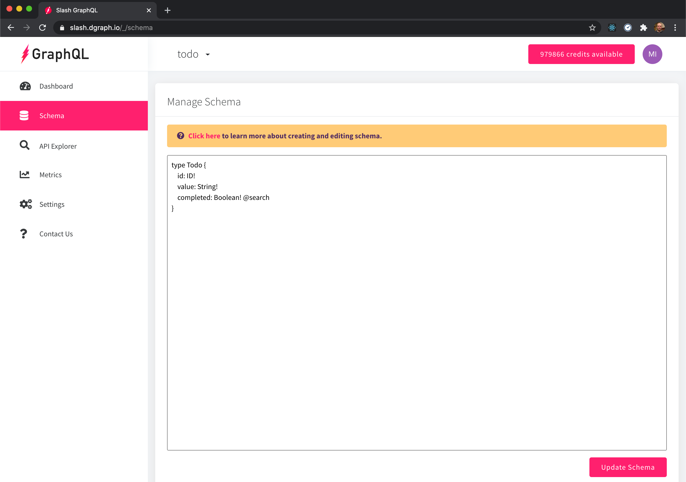 Slash-GraphQL: submiting GraphQL schema