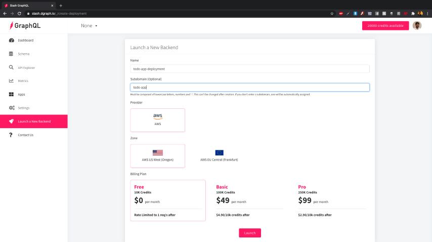 Dgraph Cloud: Create deployment